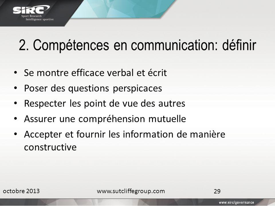 2. Compétences en communication: définir Se montre efficace verbal et écrit Poser des questions perspicaces Respecter les point de vue des autres Assu