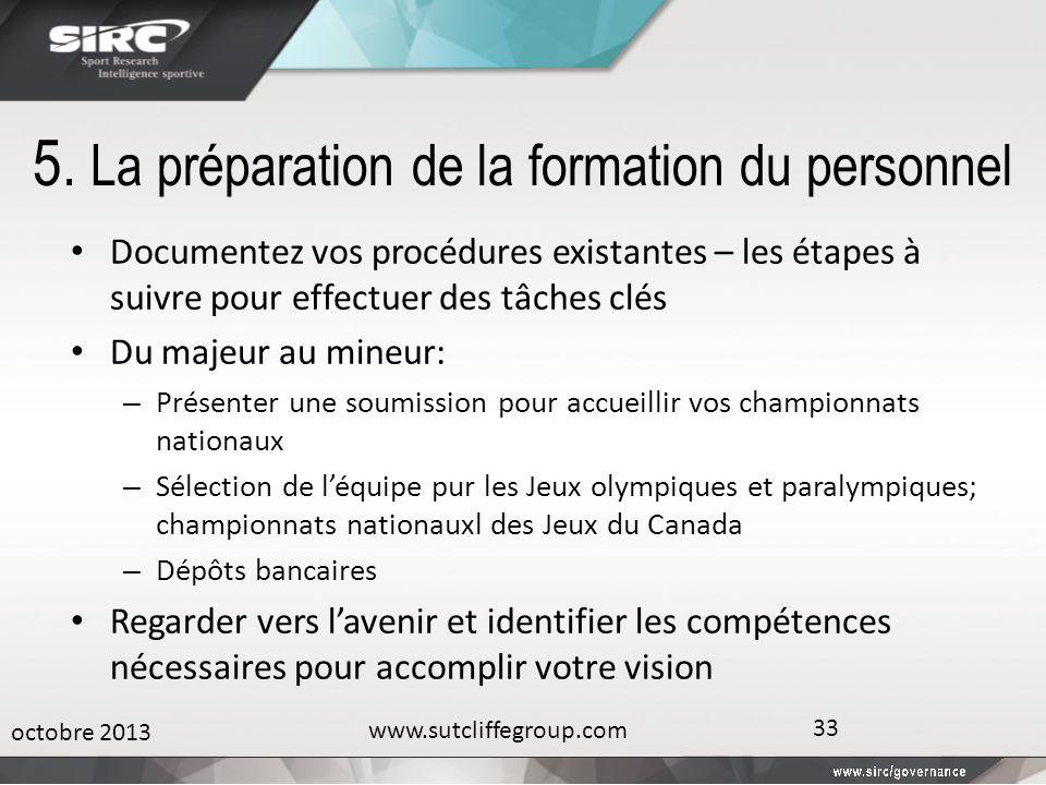 5. La préparation de la formation du personnel Documentez vos procédures existantes – les étapes à suivre pour effectuer des tâches clés Du majeur au