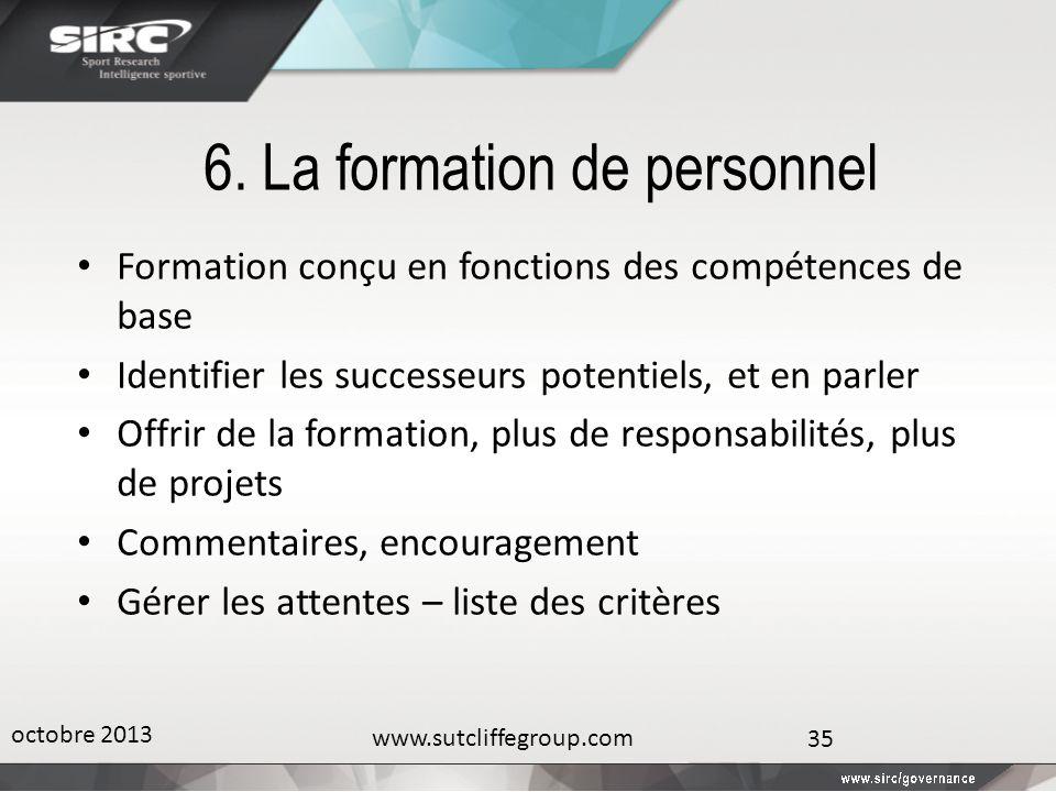 6. La formation de personnel Formation conçu en fonctions des compétences de base Identifier les successeurs potentiels, et en parler Offrir de la for