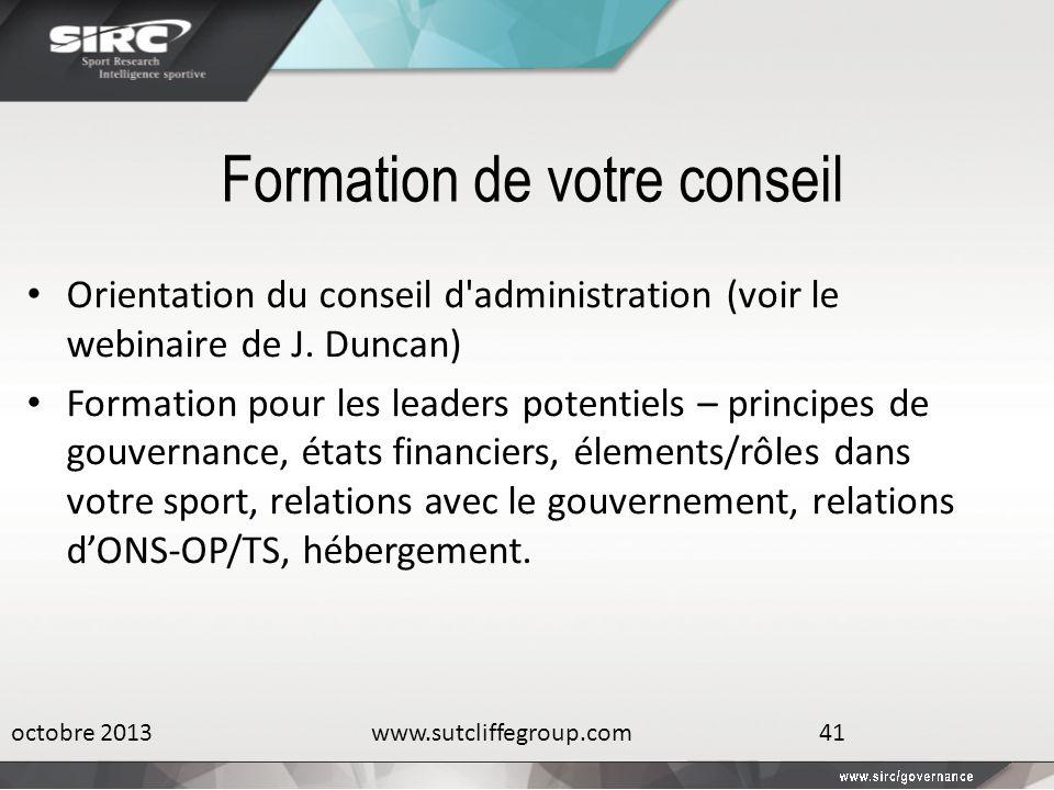 Formation de votre conseil Orientation du conseil d'administration (voir le webinaire de J. Duncan) Formation pour les leaders potentiels – principes