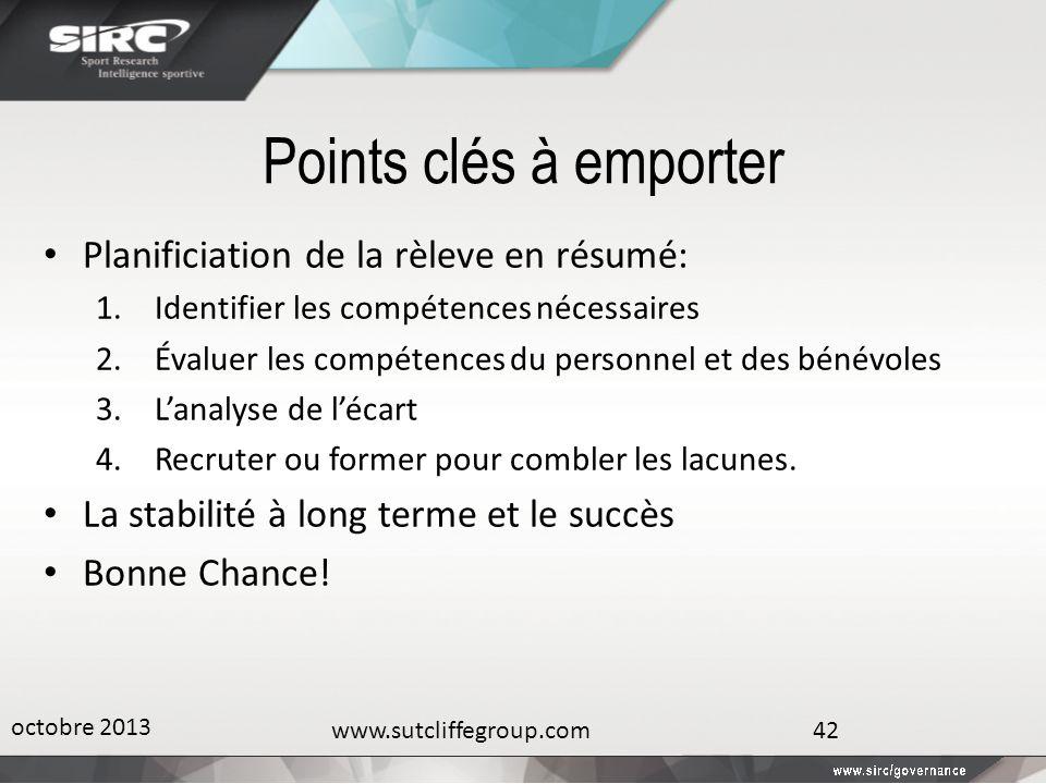 Points clés à emporter Planificiation de la rèleve en résumé: 1.Identifier les compétences nécessaires 2.Évaluer les compétences du personnel et des b