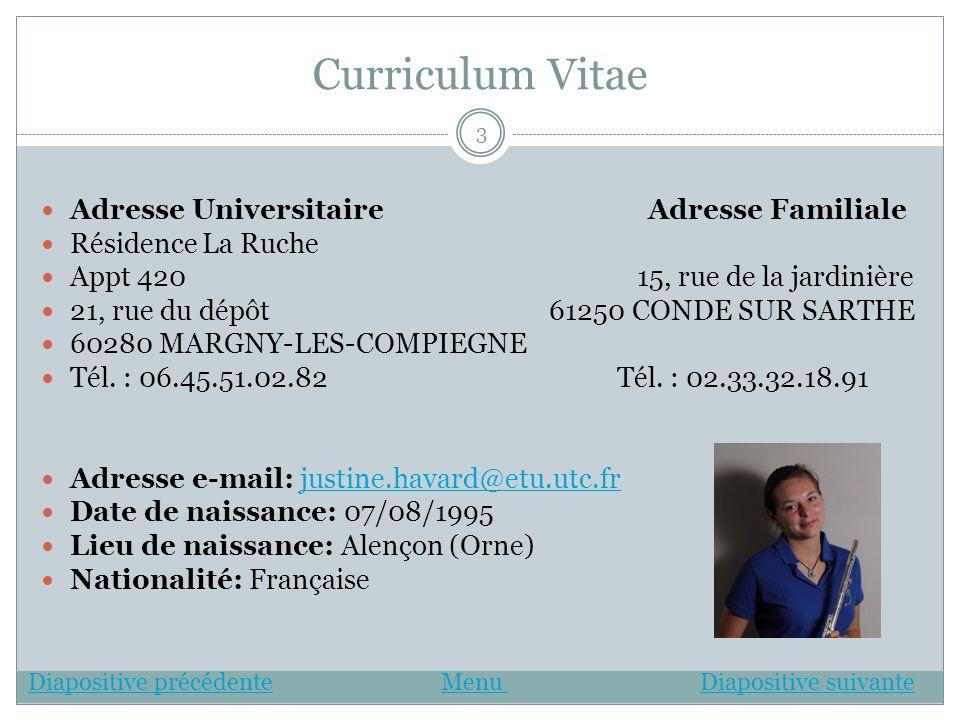 Curriculum Vitae Adresse Universitaire Adresse Familiale Résidence La Ruche Appt 420 15, rue de la jardinière 21, rue du dépôt 61250 CONDE SUR SARTHE