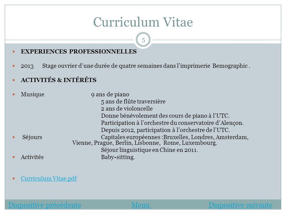 Curriculum Vitae EXPERIENCES PROFESSIONNELLES 2013 Stage ouvrier dune durée de quatre semaines dans limprimerie Bemographic. ACTIVITÉS & INTÉRÊTS Musi