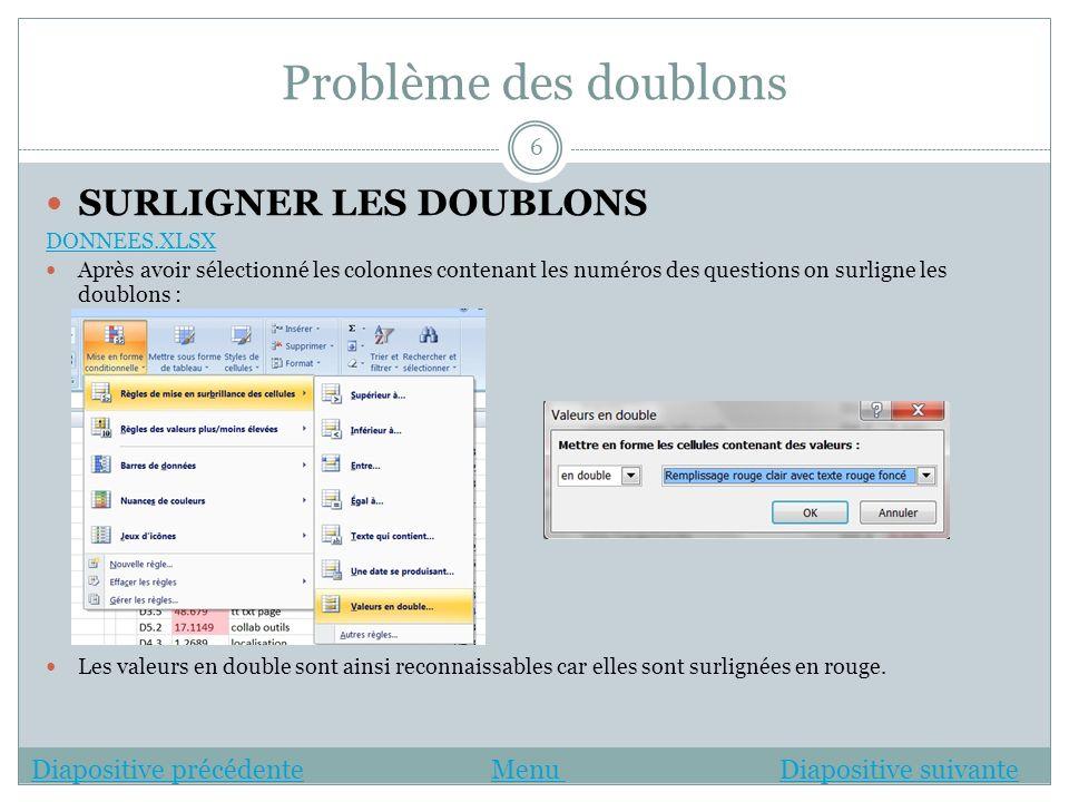 Problème des doublons SURLIGNER LES DOUBLONS DONNEES.XLSX Après avoir sélectionné les colonnes contenant les numéros des questions on surligne les dou
