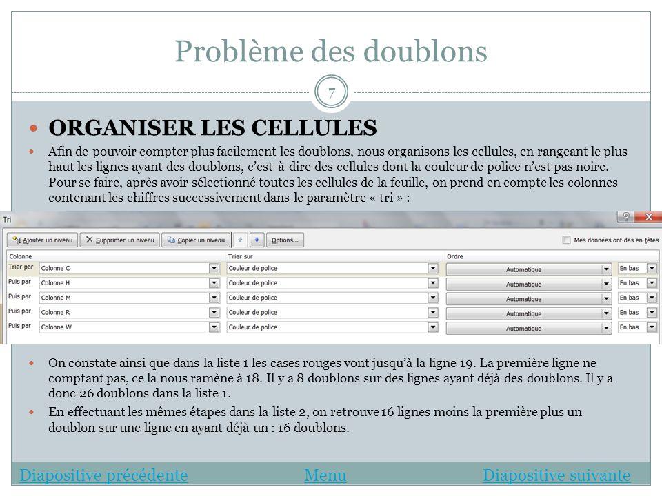 Problème des doublons DOUBLONS LISTE 1 ET LISTE 2 COMBINÉS Afin de trouver les doublons des listes 1 et 2, on crée une nouvelle feuille avec le petit bouton en bas du classeur.