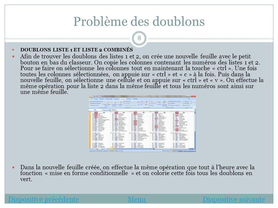 Problème des doublons DOUBLONS LISTE 1 ET LISTE 2 COMBINÉS Afin de trouver les doublons des listes 1 et 2, on crée une nouvelle feuille avec le petit