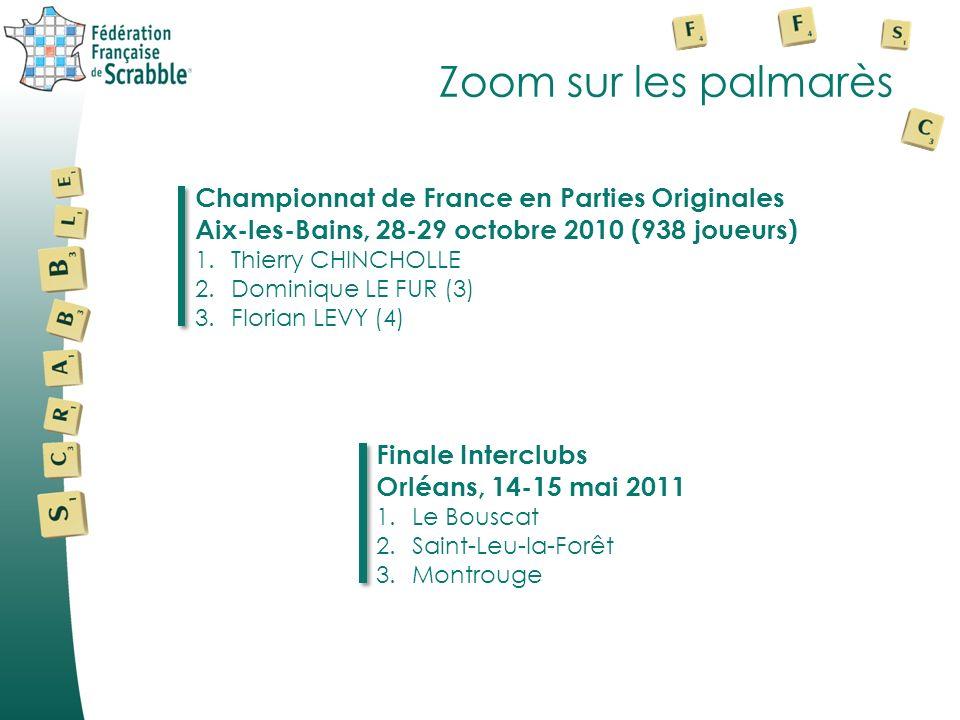 Zoom sur les palmarès Championnat de France en Parties Originales Aix-les-Bains, 28-29 octobre 2010 (938 joueurs) 1.Thierry CHINCHOLLE 2.Dominique LE FUR (3) 3.Florian LEVY (4) Finale Interclubs Orléans, 14-15 mai 2011 1.Le Bouscat 2.Saint-Leu-la-Forêt 3.Montrouge