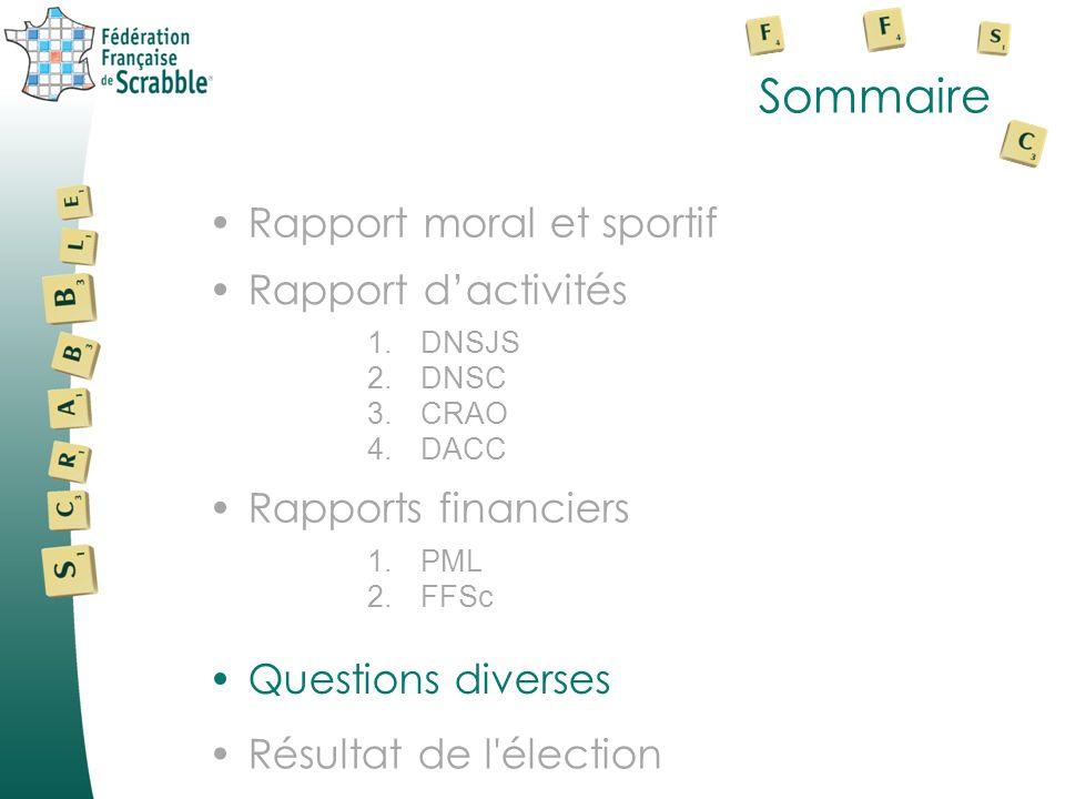 Sommaire Questions diverses Rapport dactivités Rapports financiers Rapport moral et sportifRapport moral et sportif Résultat de l élection 1.DNSJS 2.DNSC 3.CRAO 4.DACC 1.PML 2.FFSc