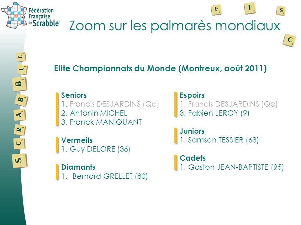 Zoom sur les palmarès mondiaux Seniors 1. Francis DESJARDINS (Qc) 2. Antonin MICHEL 3. Franck MANIQUANT Vermeils 1. Guy DELORE (36) Diamants 1.Bernard
