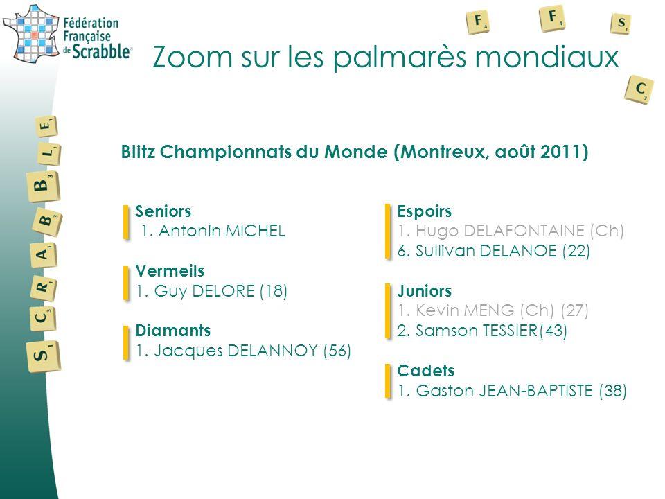 Zoom sur les palmarès mondiaux Seniors 1. Antonin MICHEL Vermeils 1. Guy DELORE (18) Diamants 1. Jacques DELANNOY (56) Espoirs 1. Hugo DELAFONTAINE (C
