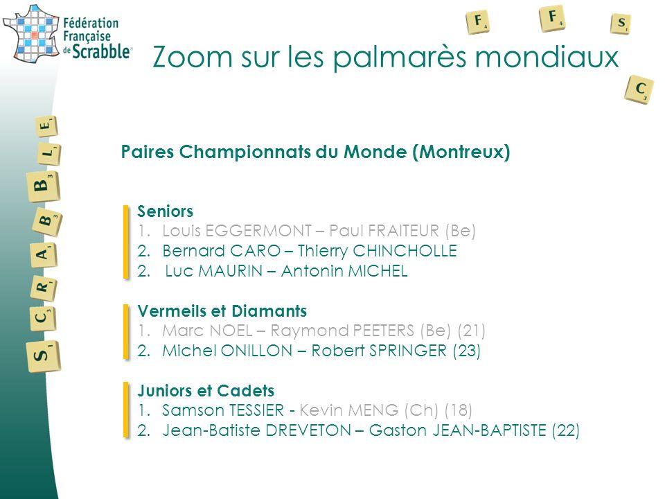 Zoom sur les palmarès mondiaux Seniors 1.Louis EGGERMONT – Paul FRAITEUR (Be) 2.Bernard CARO – Thierry CHINCHOLLE 2. Luc MAURIN – Antonin MICHEL Verme