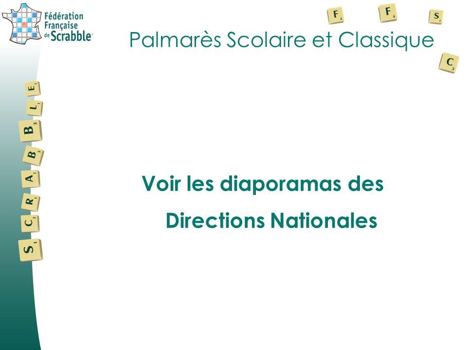 Palmarès Scolaire et Classique Voir les diaporamas des Directions Nationales