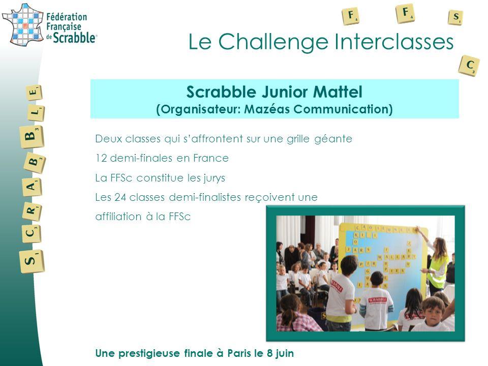 Le Challenge Interclasses Deux classes qui saffrontent sur une grille géante 12 demi-finales en France La FFSc constitue les jurys Les 24 classes demi-finalistes reçoivent une affiliation à la FFSc Une prestigieuse finale à Paris le 8 juin Scrabble Junior Mattel (Organisateur: Mazéas Communication)