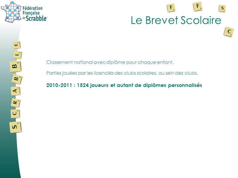 Le Brevet Scolaire Classement national avec diplôme pour chaque enfant. Parties jouées par les licenciés des clubs scolaires, au sein des clubs. 2010-
