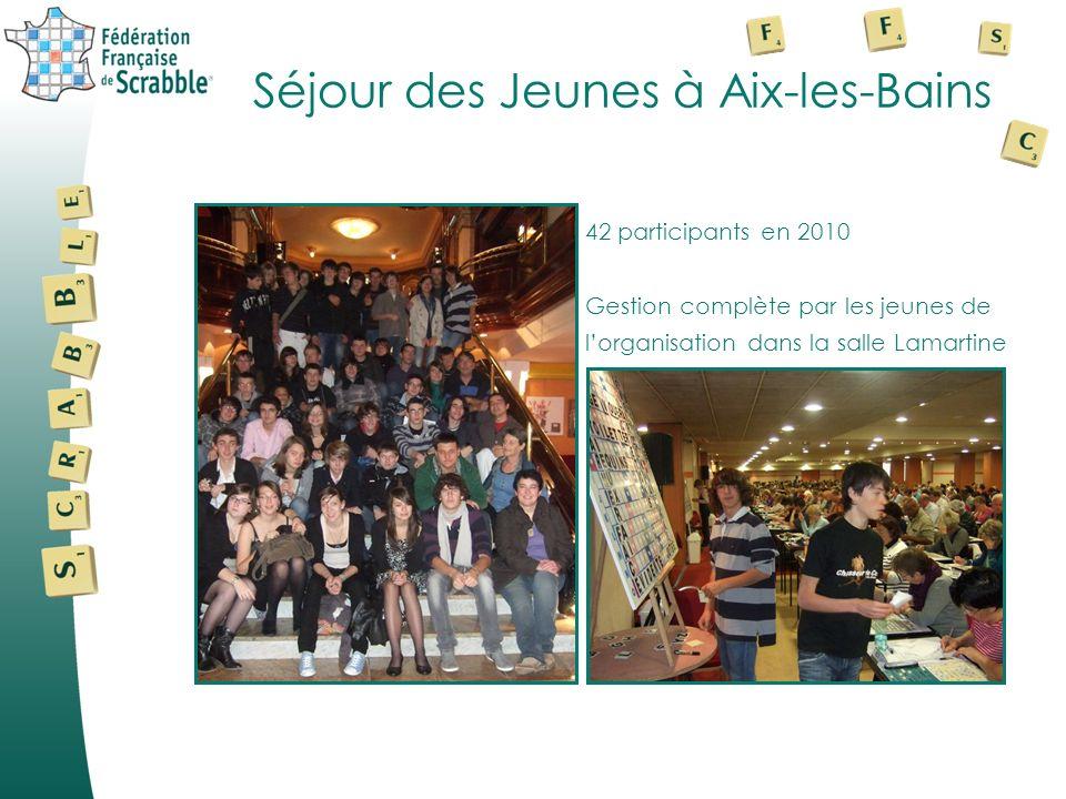 Séjour des Jeunes à Aix-les-Bains 42 participants en 2010 Gestion complète par les jeunes de lorganisation dans la salle Lamartine