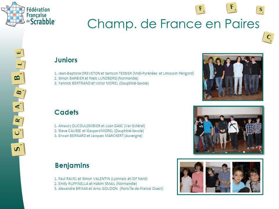 Champ. de France en Paires 1. Jean-Baptiste DREVETON et Samson TESSIER (Midi-Pyrénées et Limousin Périgord) 2. Simon BARBIER et Niels LUNDBERG (Norman