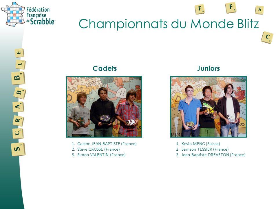 Championnats du Monde Blitz 1.Gaston JEAN-BAPTISTE (France) 2.Steve CAUSSE (France) 3.Simon VALENTIN (France) CadetsJuniors 1.Kévin MENG (Suisse) 2.Sa