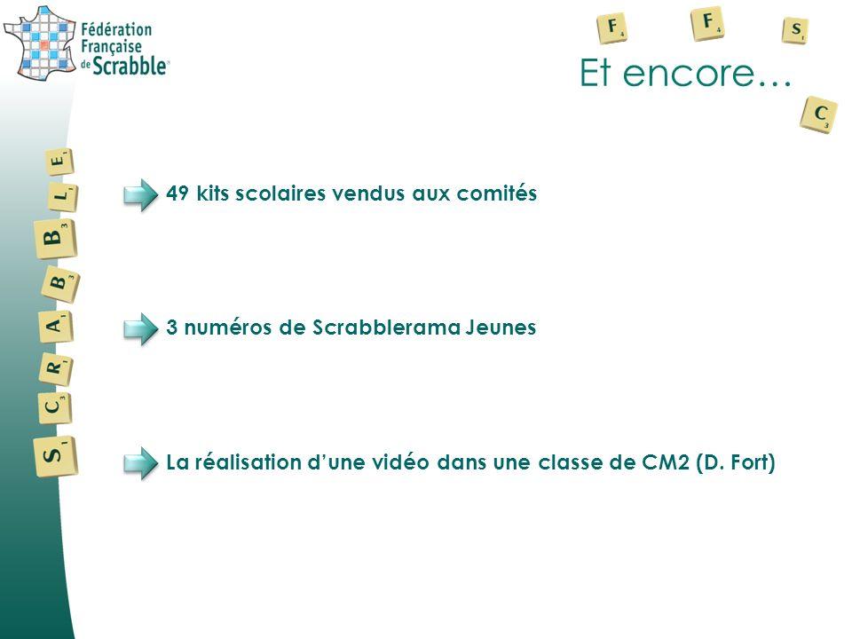 Et encore… 49 kits scolaires vendus aux comités 3 numéros de Scrabblerama Jeunes La réalisation dune vidéo dans une classe de CM2 (D. Fort)
