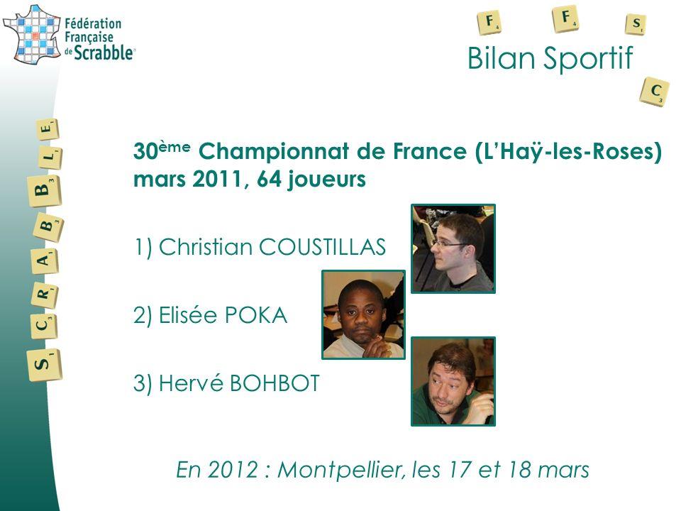 Bilan Sportif 30 ème Championnat de France (LHaÿ-les-Roses) mars 2011, 64 joueurs 1)Christian COUSTILLAS 2)Elisée POKA 3)Hervé BOHBOT En 2012 : Montpellier, les 17 et 18 mars