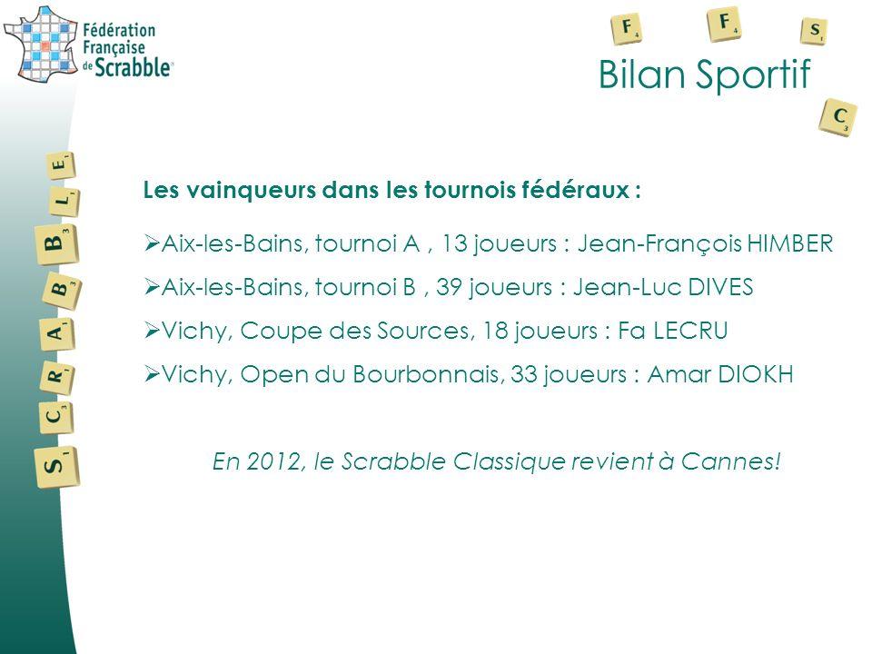 Bilan Sportif Les vainqueurs dans les tournois fédéraux : Aix-les-Bains, tournoi A, 13 joueurs : Jean-François HIMBER Aix-les-Bains, tournoi B, 39 jou