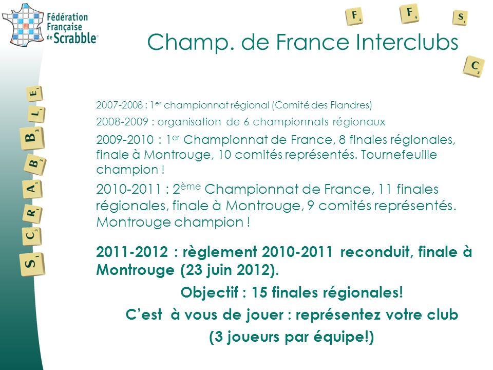 Champ. de France Interclubs 2007-2008 : 1 er championnat régional (Comité des Flandres) 2008-2009 : organisation de 6 championnats régionaux 2009-2010