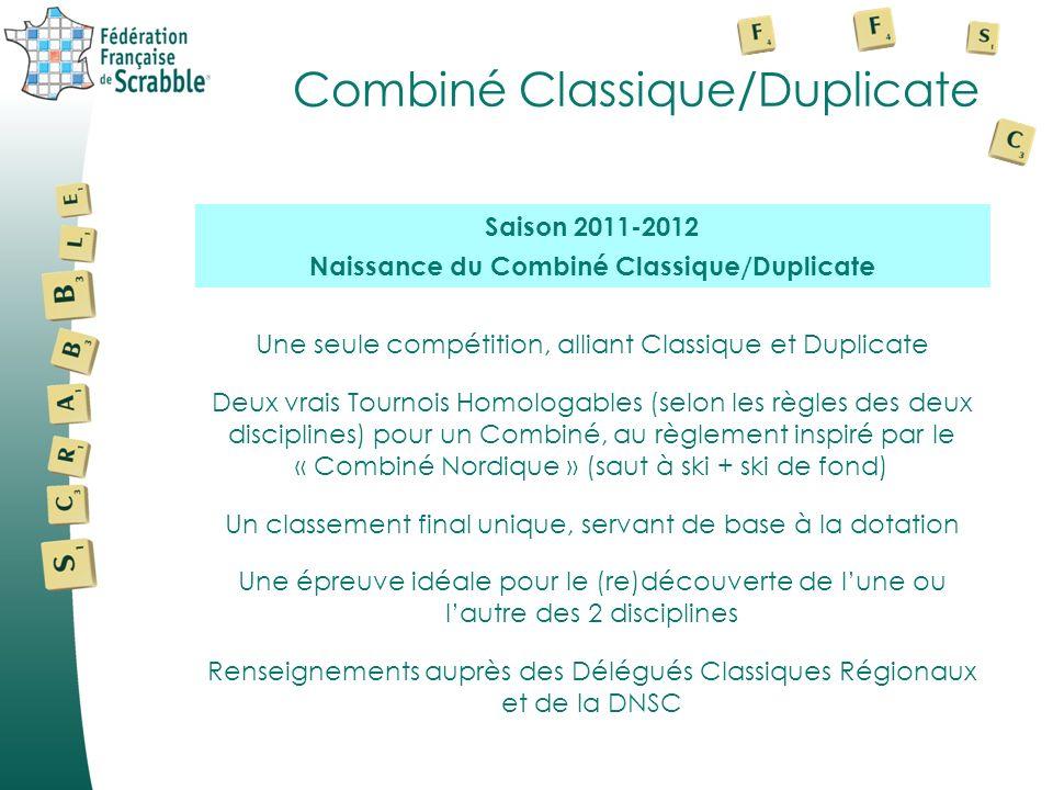 Combiné Classique/Duplicate Une seule compétition, alliant Classique et Duplicate Deux vrais Tournois Homologables (selon les règles des deux discipli