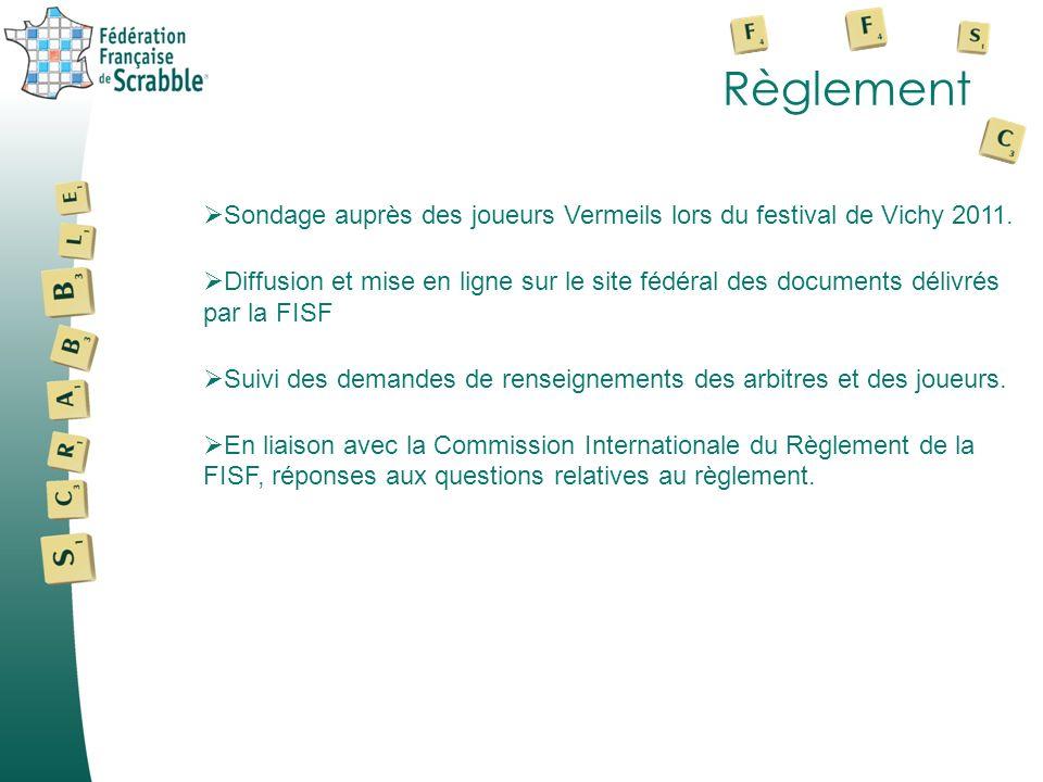 Règlement Sondage auprès des joueurs Vermeils lors du festival de Vichy 2011. Diffusion et mise en ligne sur le site fédéral des documents délivrés pa
