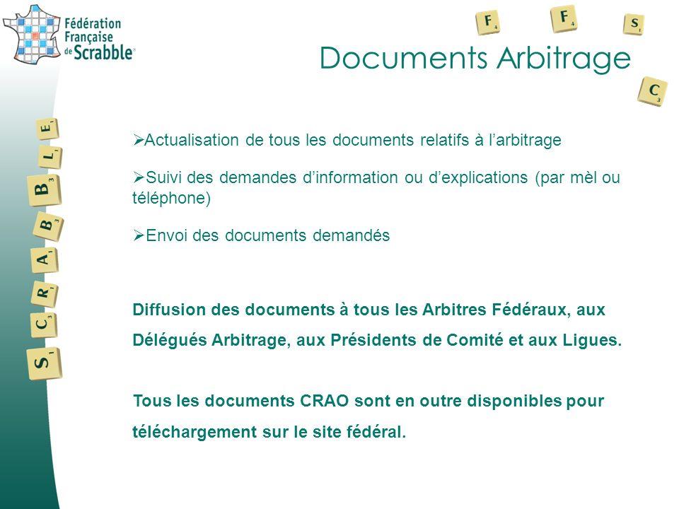 Documents Arbitrage Actualisation de tous les documents relatifs à larbitrage Suivi des demandes dinformation ou dexplications (par mèl ou téléphone)