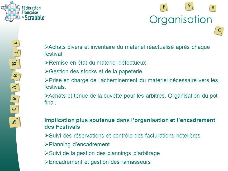 Organisation Achats divers et inventaire du matériel réactualisé après chaque festival Remise en état du matériel défectueux Gestion des stocks et de