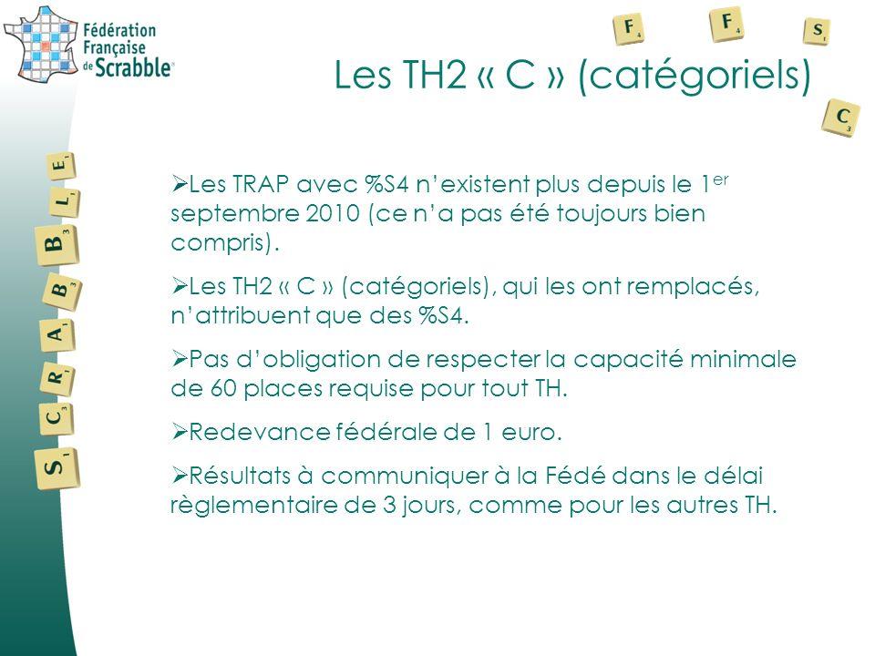 Les TH2 « C » (catégoriels) Les TRAP avec %S4 nexistent plus depuis le 1 er septembre 2010 (ce na pas été toujours bien compris). Les TH2 « C » (catég