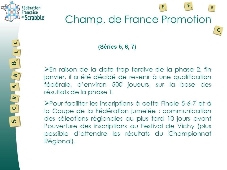 Champ. de France Promotion En raison de la date trop tardive de la phase 2, fin janvier, il a été décidé de revenir à une qualification fédérale, denv