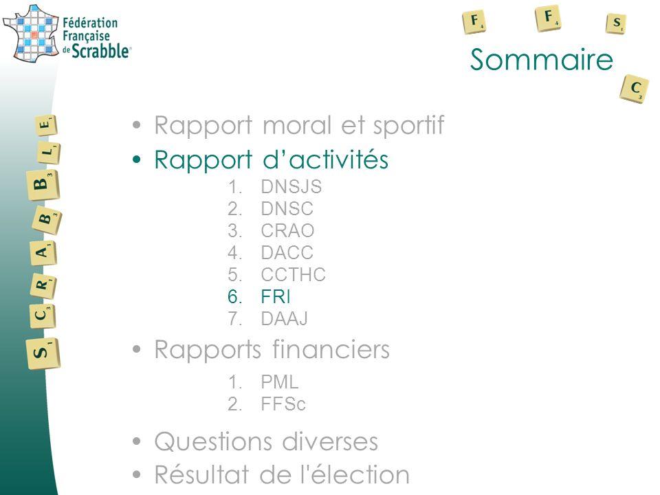 Sommaire Rapport dactivités Rapports financiers Rapport moral et sportifRapport moral et sportif 1.DNSJS 2.DNSC 3.CRAO 4.DACC 5.CCTHC 6.FRI 7.DAAJ Que