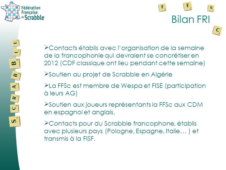 Bilan FRI Contacts établis avec lorganisation de la semaine de la francophonie qui devraient se concrétiser en 2012 (CDF classique ont lieu pendant cette semaine) Soutien au projet de Scrabble en Algérie La FFSc est membre de Wespa et FISE (participation à leurs AG) Soutien aux joueurs représentants la FFSc aux CDM en espagnol et anglais.