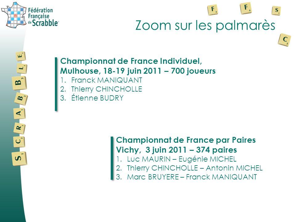 Zoom sur les palmarès Championnat de France Individuel, Mulhouse, 18-19 juin 2011 – 700 joueurs 1.Franck MANIQUANT 2.Thierry CHINCHOLLE 3.Étienne BUDR