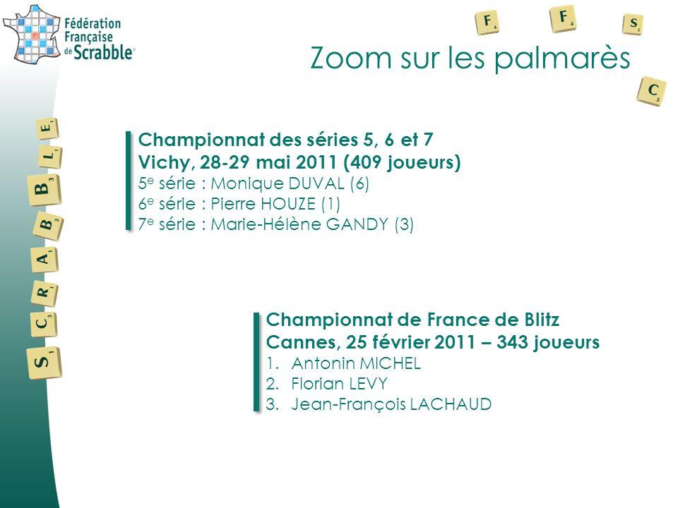 Zoom sur les palmarès Championnat des séries 5, 6 et 7 Vichy, 28-29 mai 2011 (409 joueurs) 5 e série : Monique DUVAL (6) 6 e série : Pierre HOUZE (1) 7 e série : Marie-Hélène GANDY (3) Championnat de France de Blitz Cannes, 25 février 2011 – 343 joueurs 1.Antonin MICHEL 2.Florian LEVY 3.Jean-François LACHAUD