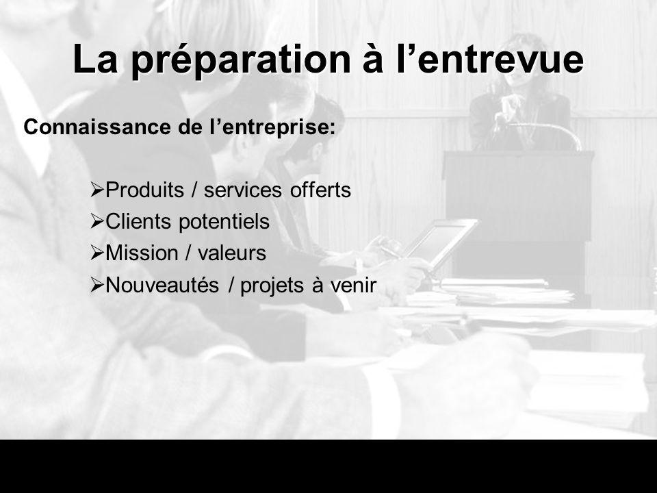 La préparation à lentrevue Connaissance de lentreprise: Produits / services offerts Clients potentiels Mission / valeurs Nouveautés / projets à venir