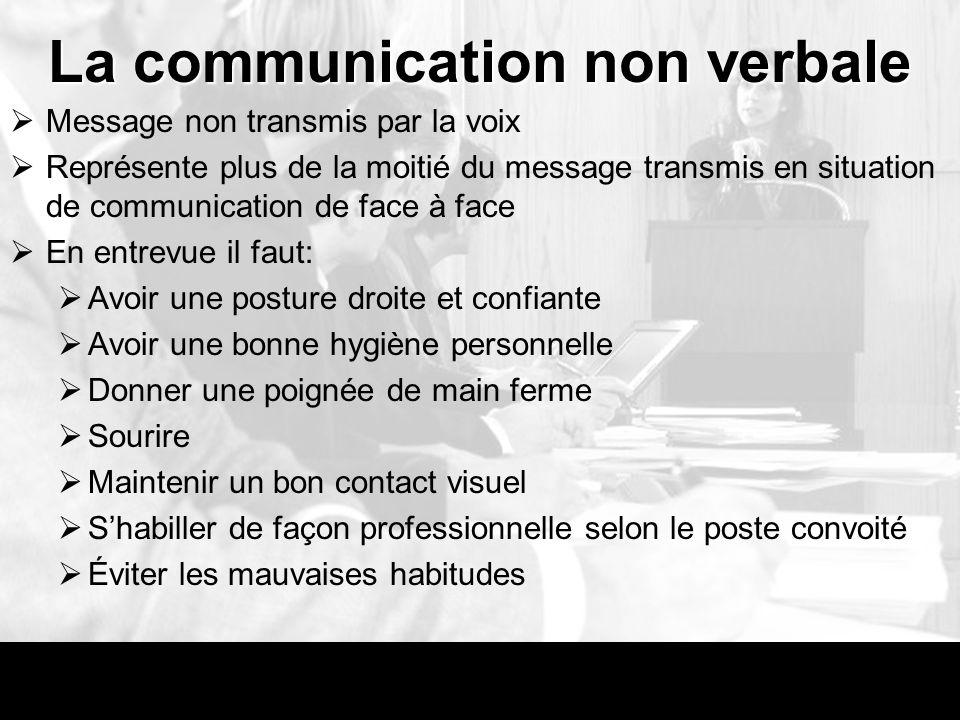 La communication non verbale Message non transmis par la voix Représente plus de la moitié du message transmis en situation de communication de face à