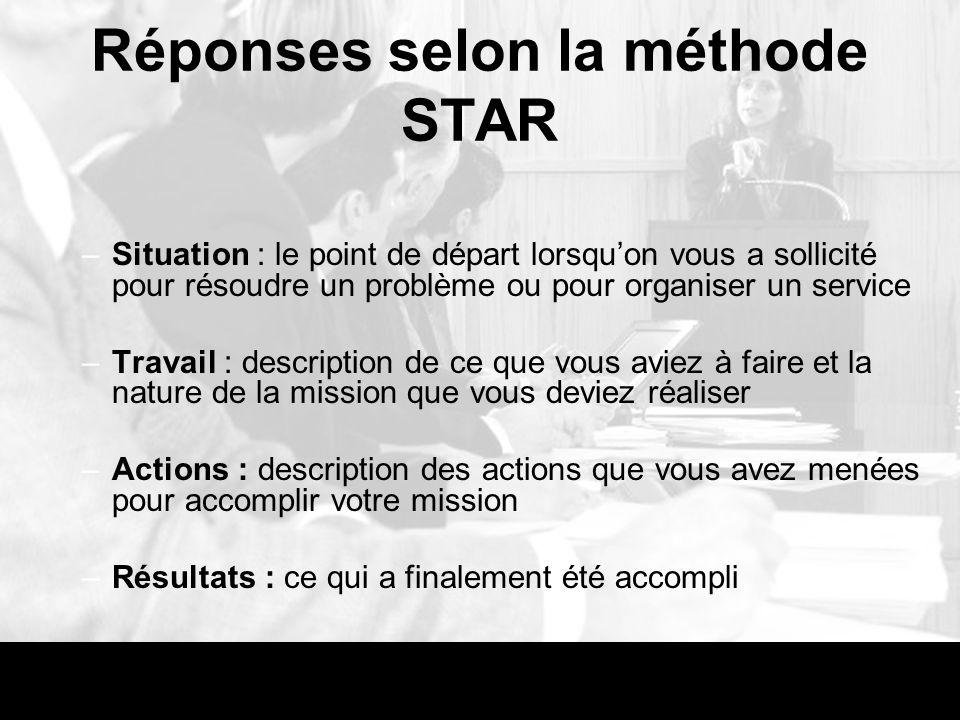 Réponses selon la méthode STAR –Situation : le point de départ lorsquon vous a sollicité pour résoudre un problème ou pour organiser un service –Trava