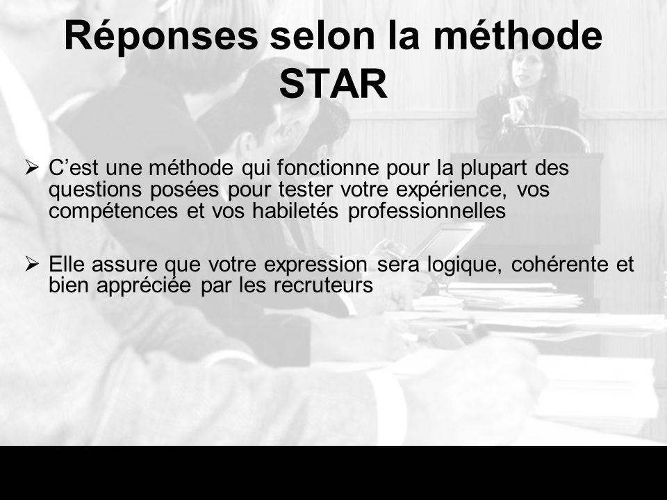 Réponses selon la méthode STAR Cest une méthode qui fonctionne pour la plupart des questions posées pour tester votre expérience, vos compétences et v