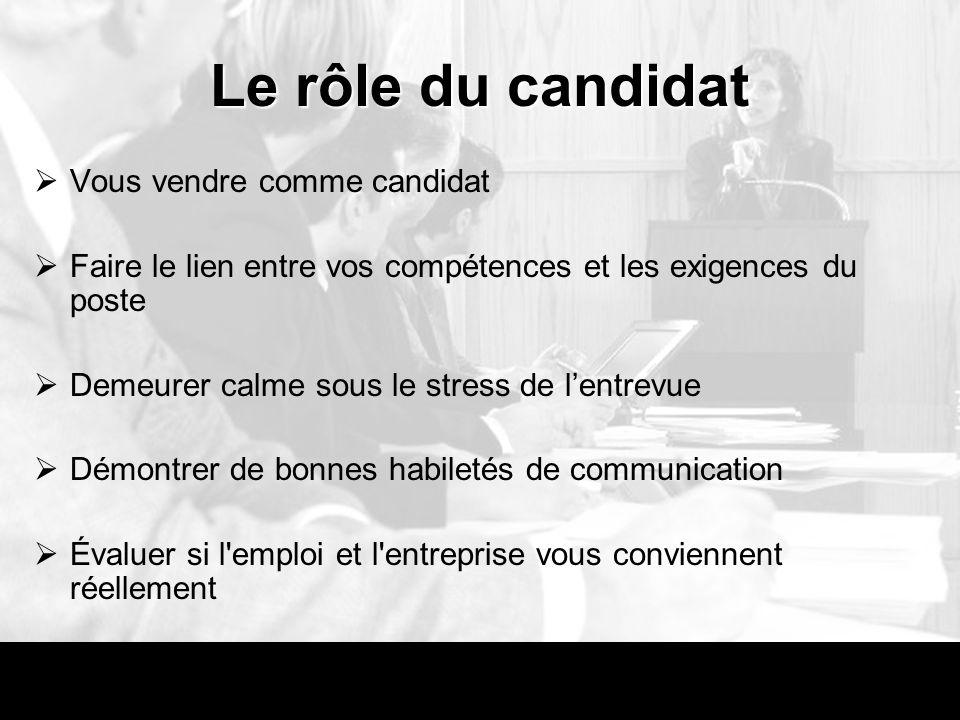 Le rôle du candidat Vous vendre comme candidat Faire le lien entre vos compétences et les exigences du poste Demeurer calme sous le stress de lentrevu