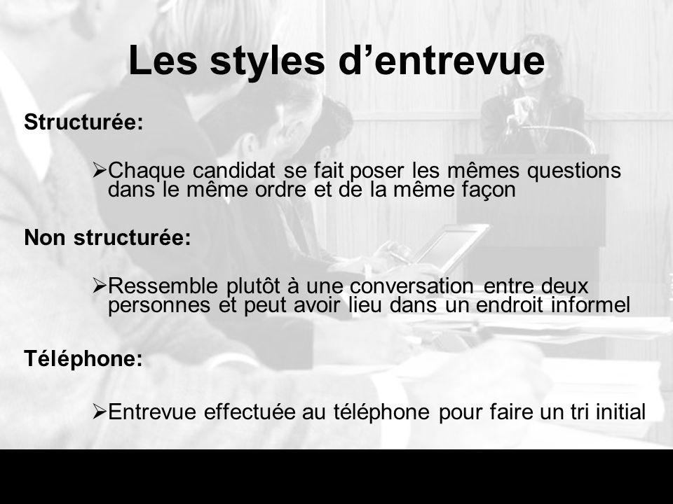 Les styles dentrevue Structurée: Chaque candidat se fait poser les mêmes questions dans le même ordre et de la même façon Non structurée: Ressemble pl