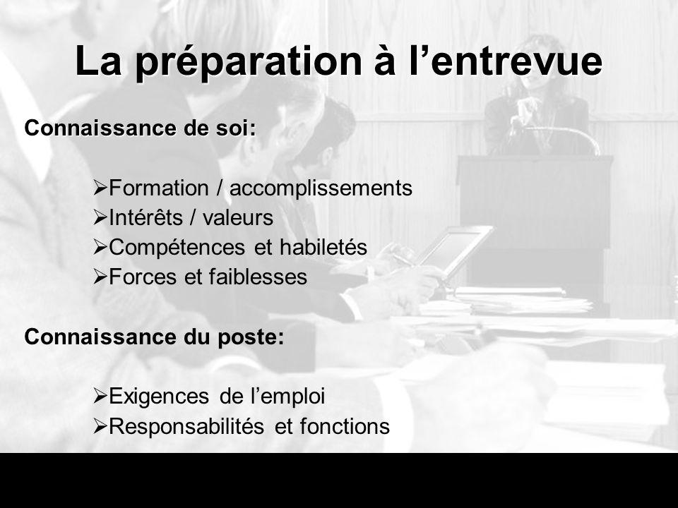 La préparation à lentrevue Connaissance de soi: Formation / accomplissements Intérêts / valeurs Compétences et habiletés Forces et faiblesses Connaiss