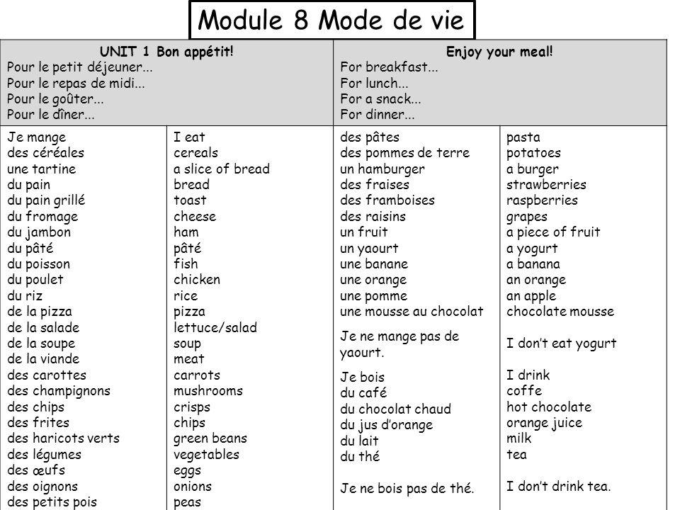 Module 8 Mode de vie UNIT 1 Bon appétit! Pour le petit déjeuner... Pour le repas de midi... Pour le goûter... Pour le dîner... Enjoy your meal! For br
