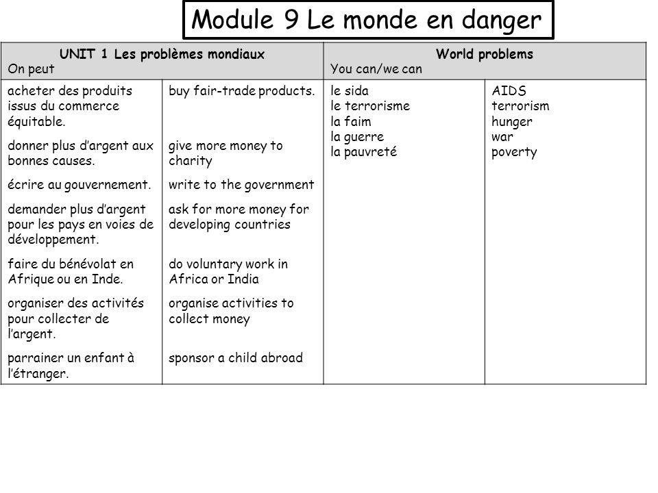 Module 9 Le monde en danger UNIT 1 Les problèmes mondiaux On peut World problems You can/we can acheter des produits issus du commerce équitable. donn