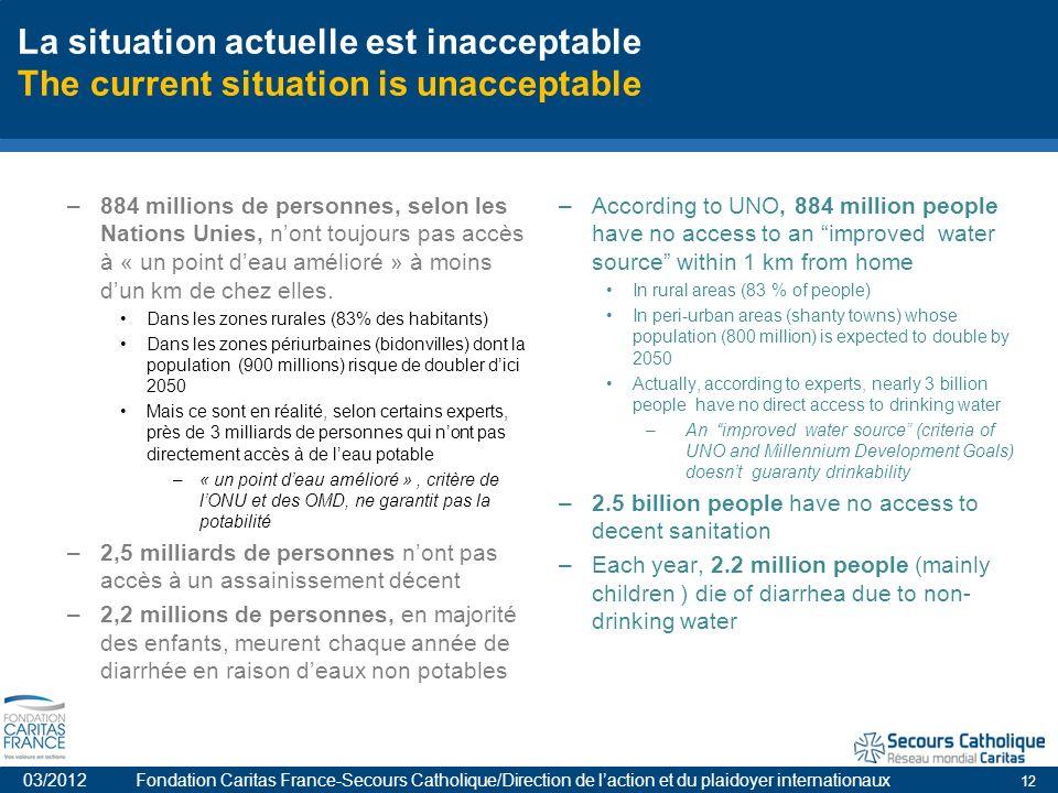 12 La situation actuelle est inacceptable The current situation is unacceptable –884 millions de personnes, selon les Nations Unies, nont toujours pas