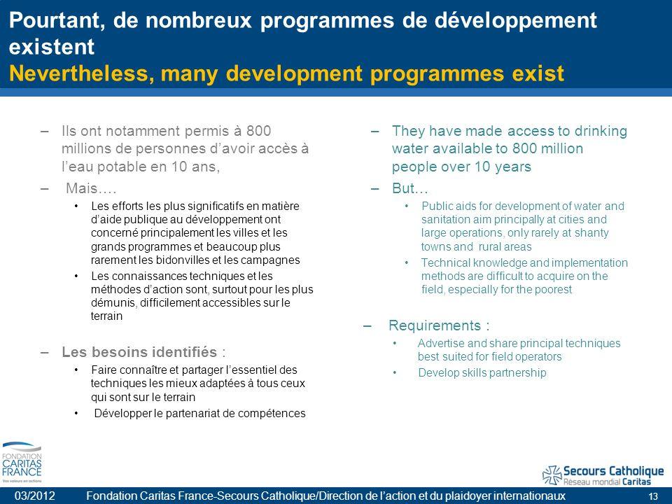 13 Pourtant, de nombreux programmes de développement existent Nevertheless, many development programmes exist –Ils ont notamment permis à 800 millions de personnes davoir accès à leau potable en 10 ans, – Mais….