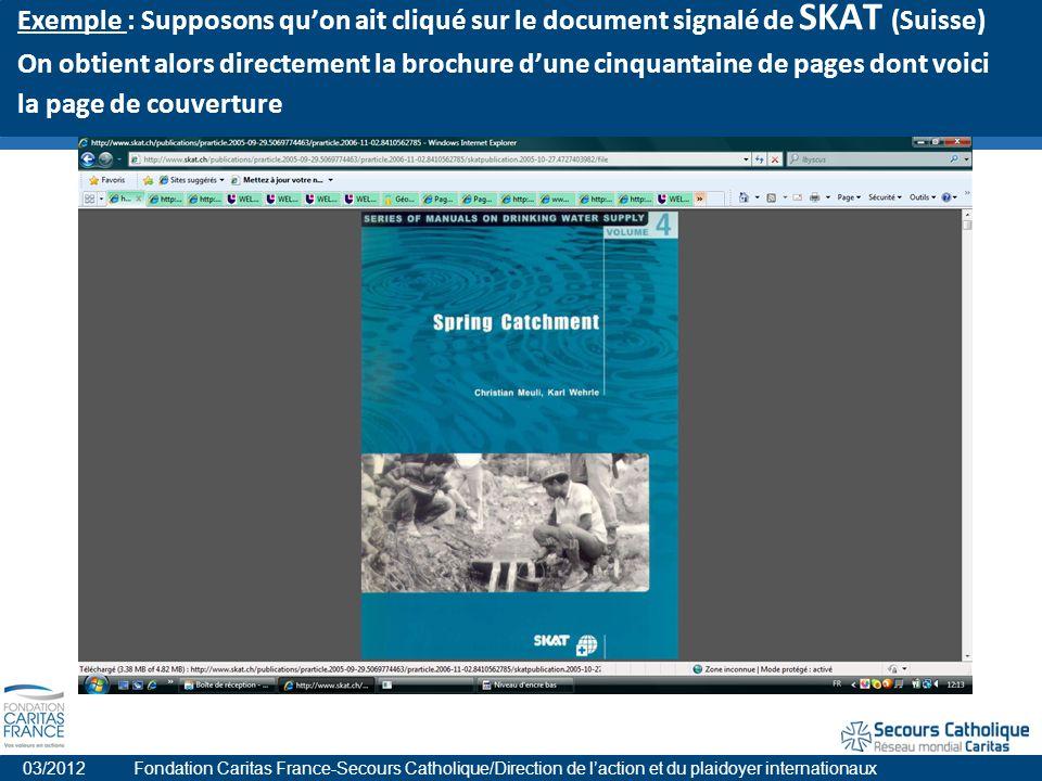 Exemple : Supposons quon ait cliqué sur le document signalé de SKAT (Suisse) On obtient alors directement la brochure dune cinquantaine de pages dont