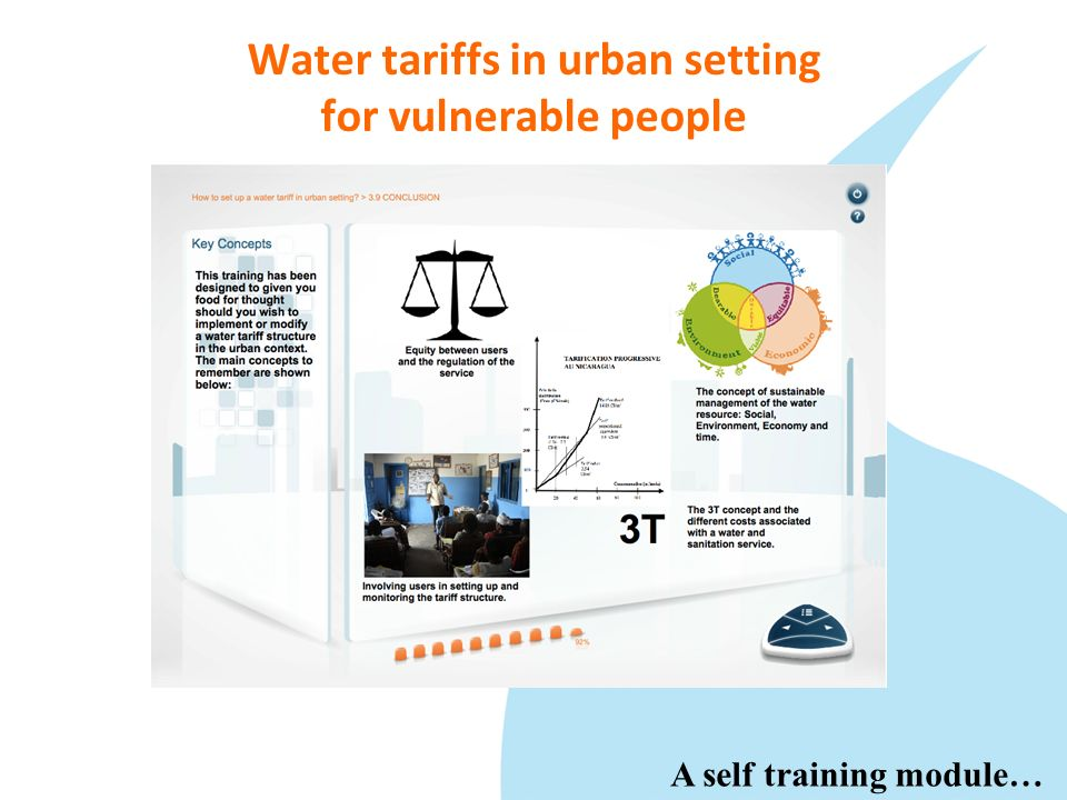 Water tariffs in urban setting for vulnerable people …with video and interactivity