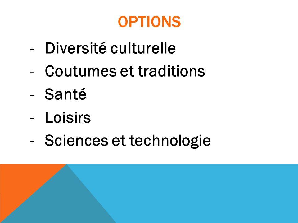 OPTIONS -Diversité culturelle -Coutumes et traditions -Santé -Loisirs -Sciences et technologie