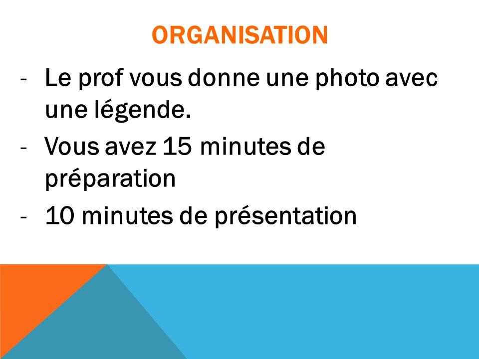ORGANISATION -Le prof vous donne une photo avec une légende. -Vous avez 15 minutes de préparation -10 minutes de présentation